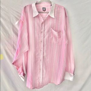 MP Members Property Pink/White Blouse Size 3XL GUC